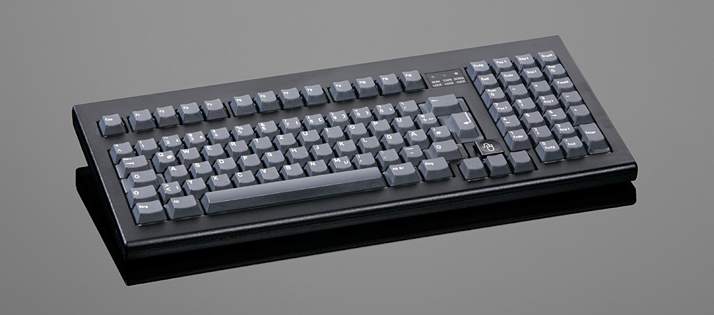 Simple design in grey or black, absolutely dust- and splashproof sas well as extreme scratch resistance, are characterized by this keyboard